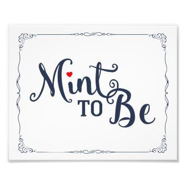 mint to be, wedding favor, wedding sign, navy photo print