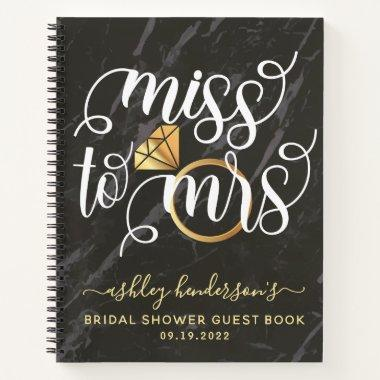 Miss To Mrs Black Marble Bridal Shower Guest Book