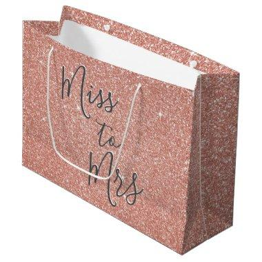 Miss to Mrs  Party Rose Gold Sparkle Large Gift Bag