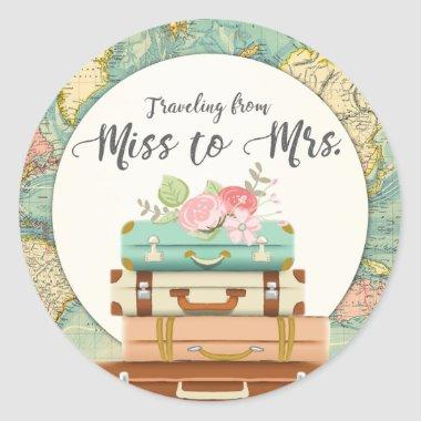 Miss to Mrs Bridal Shower Sticker Envelope Seal