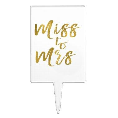 Miss to Mrs Gold Foil Cake Topper
