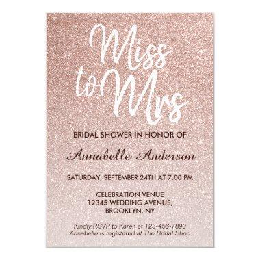 Miss to Mrs Pink Rose Gold Glitter Bridal Shower Invitations