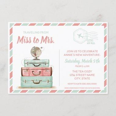 Miss to Mrs travel bridal shower coral mint Invitations
