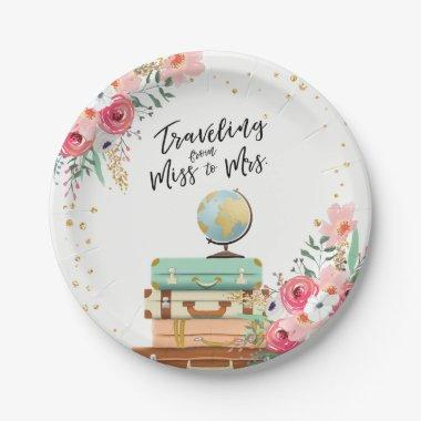 Miss to Mrs Travel  Paper Plates