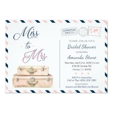 Miss To Mrs World Travel Bridal Shower Navy Pink Invitations