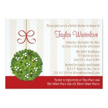 Mistletoe Kissing Ball Bridal Shower Invitations