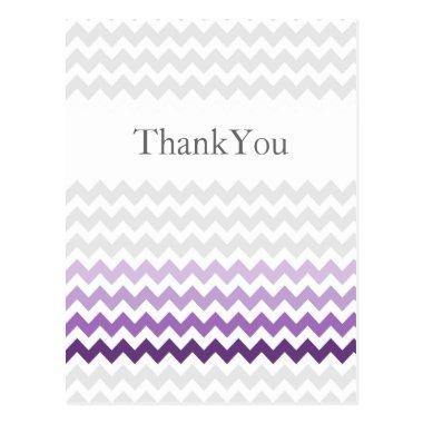 Mod chevron purple Ombre wedding Thank You PostInvitations