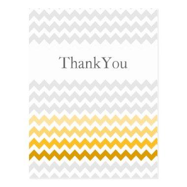 Mod chevron yellow and gray Ombre Thank You PostInvitations