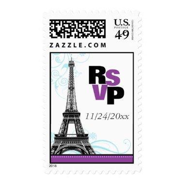 Mod Purple Eiffel Tower Parisian RSVP Postage