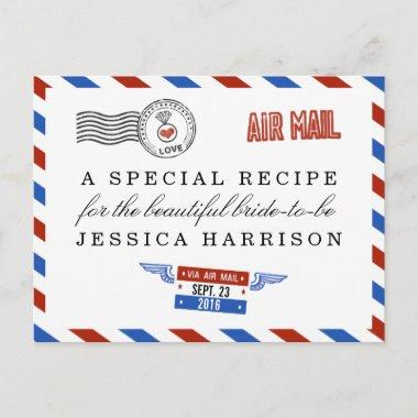 Modern Airmail Bridal Shower Recipe Invitations