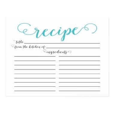 Modern Aqua Blue Script Bridal Shower Recipe Invitations