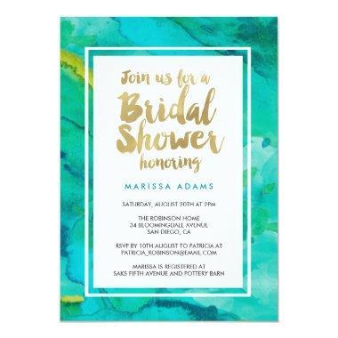 Modern Art Gold Blue Bridal Shower Invitations