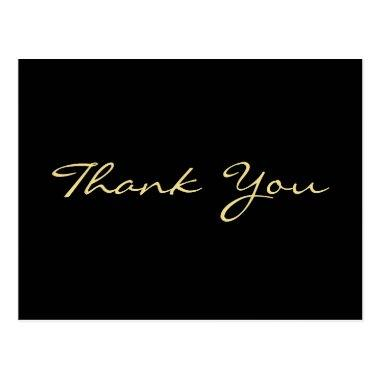 Modern Black Elegant Faux Gold Script Thank You PostInvitations