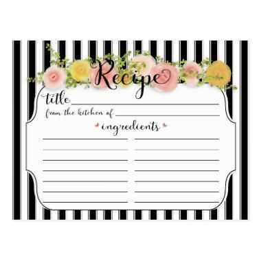 Modern Black Stripes with Roses Recipe Invitations