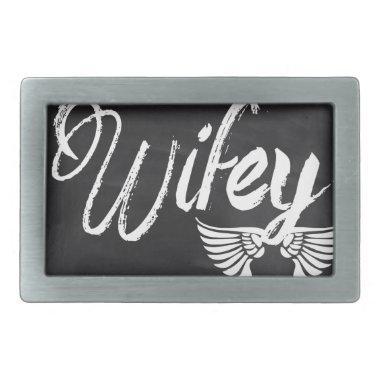modern blackboard scripts honeymoon wifey rectangular belt buckle