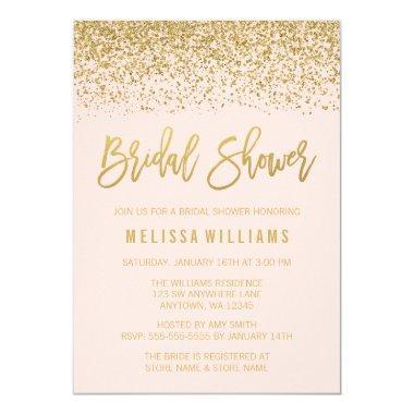 Modern Blush Pink Faux Gold Glitter Bridal Shower Invitations