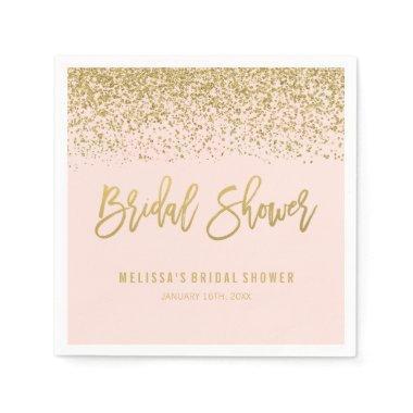 Modern Blush Pink Faux Gold Glitter  Paper Napkin