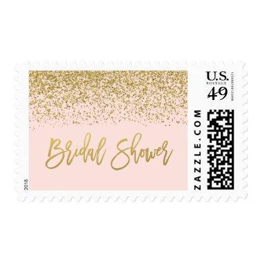 Modern Blush Pink Faux Gold Glitter  Postage