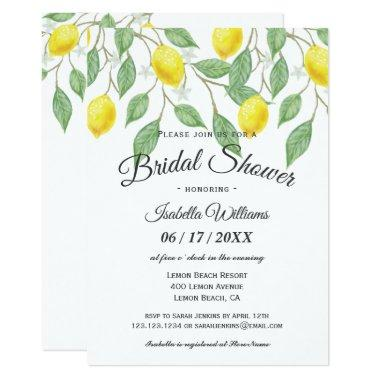 Modern Boho Lemon Summer Bridal Shower Invitations