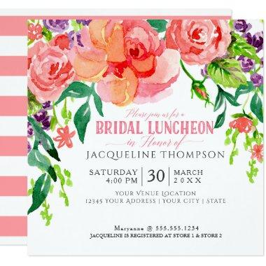 Modern Bridal Luncheon Floral Coral Pink Roses Invitations