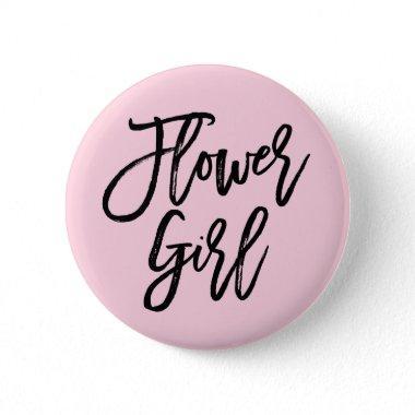 Modern Bridal Party Flower Girl Pinback Button