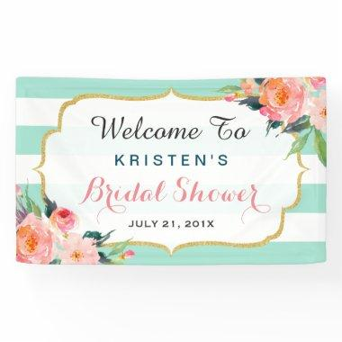 Modern Bridal Shower Floral Mint Green Stripes Banner