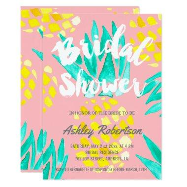 Modern bridal shower spring watercolor pineapples Invitations