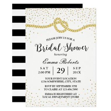 Modern  Tying the Knot Gold Confetti