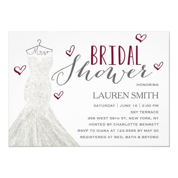 Modern Bride Burgundy | Bridal Shower Invitations