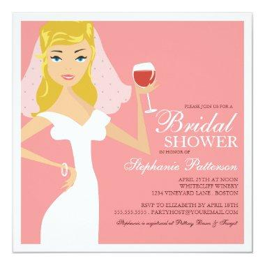 Modern Bride Wine Theme Bridal Shower Invitations
