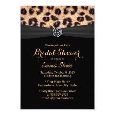 Modern Bright Diamond & Leopard Bridal Shower Invitations