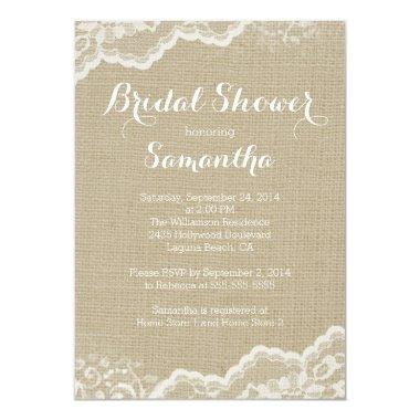 Modern Burlap & Lace Bridal Shower Invitations