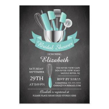 Modern Chalkboard Stock The Kitchen Bridal Shower Invitations