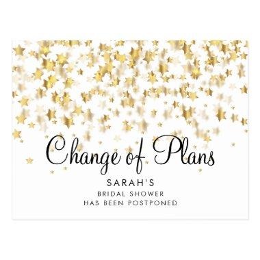 Modern Change of Plans Bridal shower Gold Stars PostInvitations
