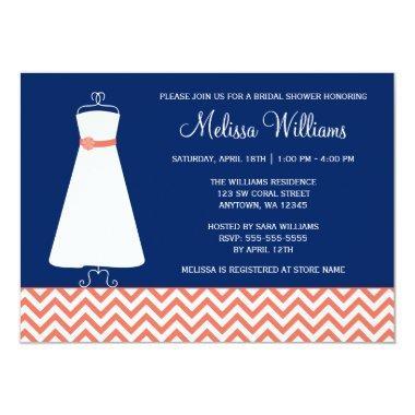 Modern Chevron Gown Coral Navy Blue Bridal Shower Invitations