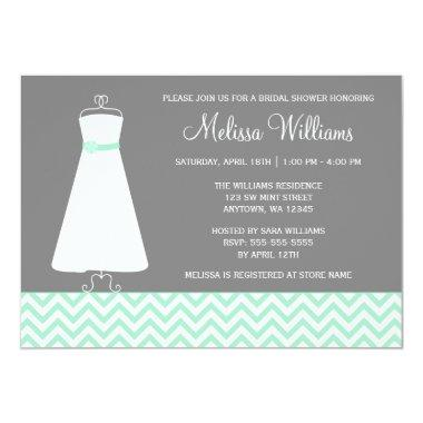 Modern Chevron Gown Mint Gray