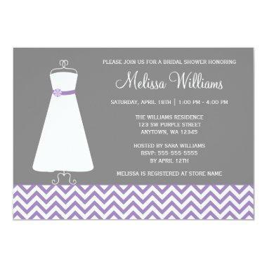 Modern Chevron Gown Purple Gray Bridal Shower Invitations
