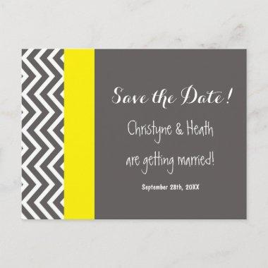 Modern Chevron Gray & Yellow Save Date PostInvitations