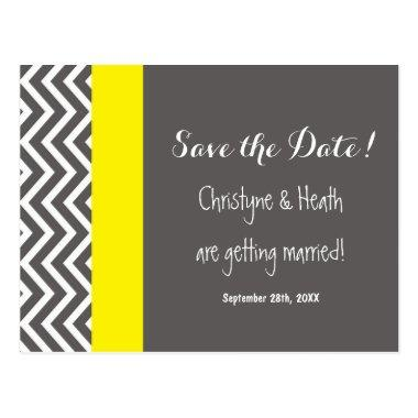 Modern Chevron Gray & Yellow Save Date Post