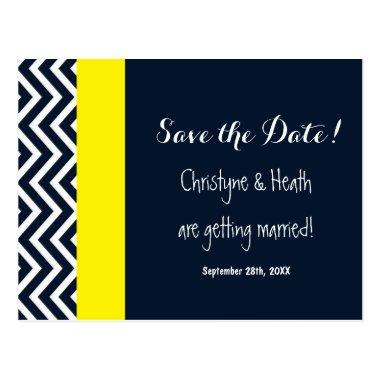 Modern Chevron Navy Blue Yellow Save Date Post
