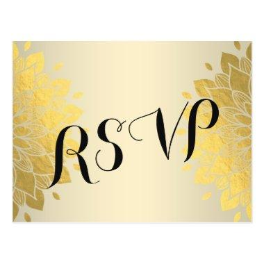 Modern Chic Gold Floral Wedding  RSVP Post