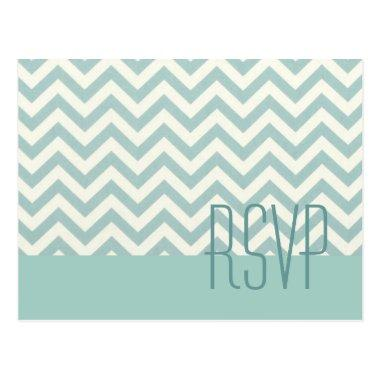 modern chic mint chevron wedding rsvp post