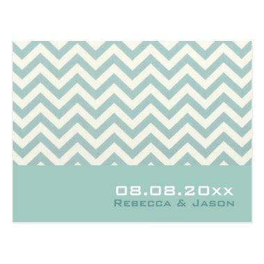 modern chic mint chevron wedding save the date post