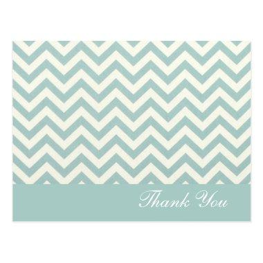 modern chic mint chevron wedding thank you post