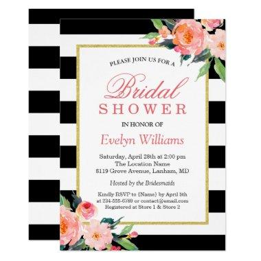 Modern Classic Black Stripes Floral Bridal Shower Invitations