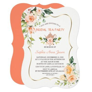 Modern Coral Flowers Bridal Shower Tea Party Invitations