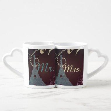 modern eiffel tower vintage paris wedding coffee mug set