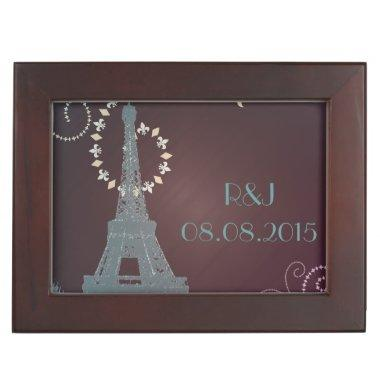 modern eiffel tower vintage paris wedding keepsake box