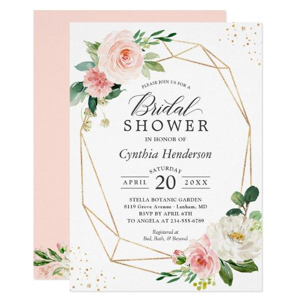 Modern Elegance Blush Pink Floral Bridal Shower Invitations