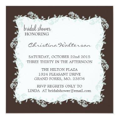Modern Elegant Chocolate Square Bridal Shower Invitations